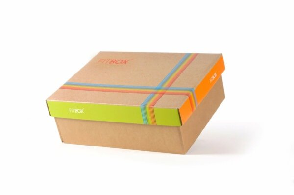 Kerstpakket Verpakking Fitbox groen en oranje